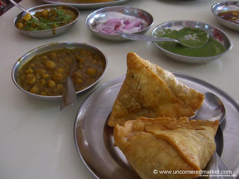 Samosas and Chana Masala for Breakfast at Sai Sweets in Chandigarh, India
