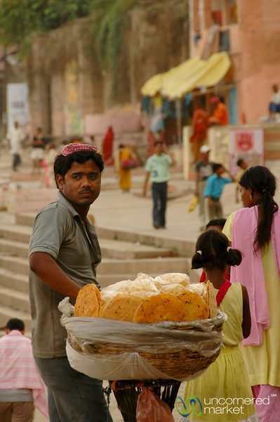 Snack Vendor at the Ghats - Varanasi, India