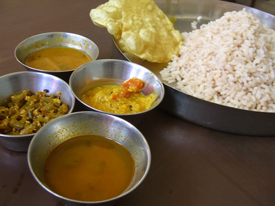 Red Rice, Poppadum and Curries - Kerala, India