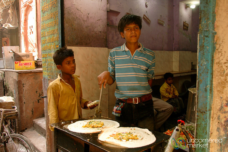 Cooking Pancakes on the Streets of Varanasi, India