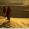 Mother & Son Walking - Sam Sand Dunes, India