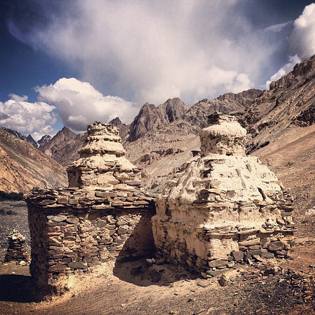 Day 3 Markha Valley: Chortens (Buddhist reliquaries) in the shadows of the hills. Signs of Buddhism everywhere on the trail. #Ladakh