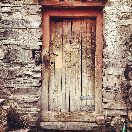 Favorite ancient doorway candidate #21. Old Ladakhi Buddhist home in Yurutse. Day 1, Markha Valley trek