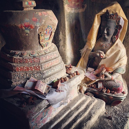 Deep inside a temple crypt at the 1000+ year old Lamayuru Buddhist monastery complex -- Ladakh, India