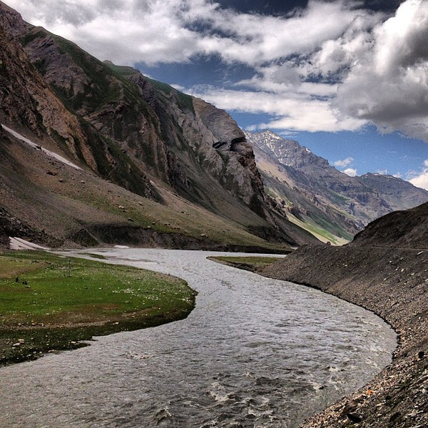 "The mighty Indus River took its time carving a path for us mortals to build a ""highway"" alongside it. #Kashmir"