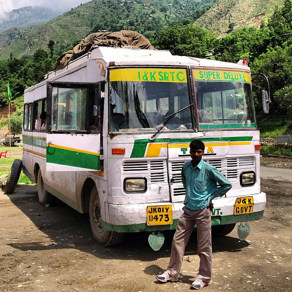 """Can anyone see anything super or deluxe about our """"Super Deluxe"""" bus? Our chariot from Kashmir to Ladakh (Srinagar to Leh), 1050 rupees ($17), 240 miles, 2 days, approximately  20 hours inside trundling. Glacial (most photos along the ride were hand-crane"""