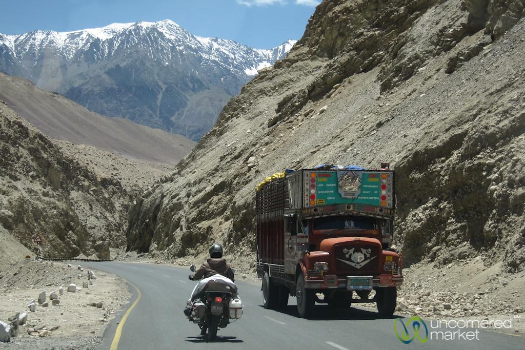 Ladakh Mountain Roads, Truck and Motorcycle - Ladakh, India