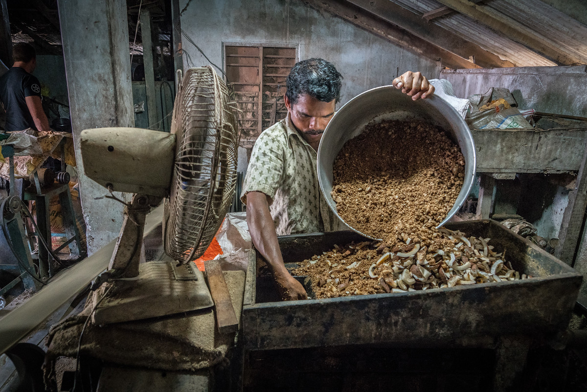 Working at a small coconut oil facility in Kerala, India