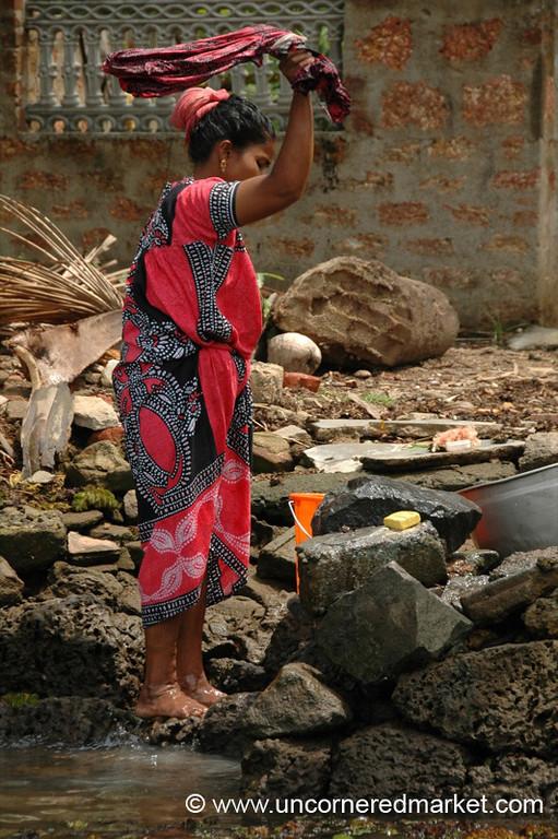 Laundry Time - Kerala Backwaters, India