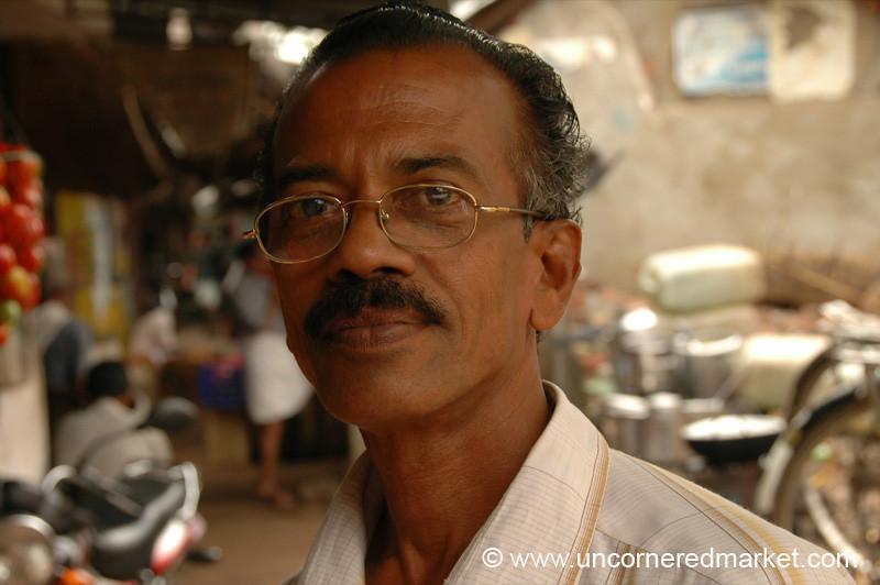 A Man at the Vulture Courtyard - Kollam, India
