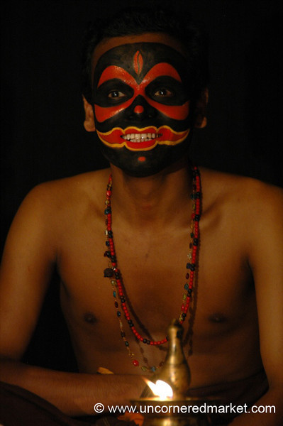 Spooky Face for Kathakali Dancing - Kochi, India