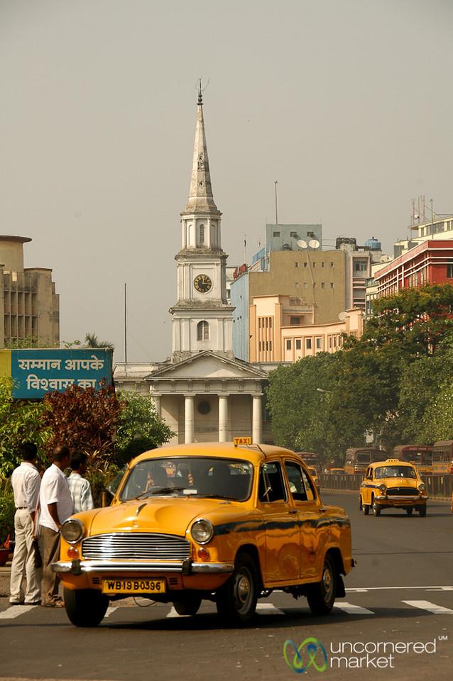 Classic Kolkata Cab and Street Scene - West Bengal, India