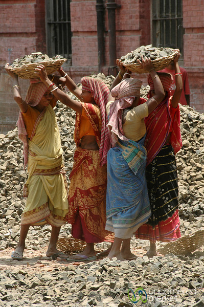Carrying Heavy Load of Rocks  - Kolkata, India