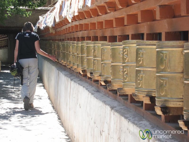 Audrey Turns Prayer Wheels at Alchi Monastery - Ladakh, India