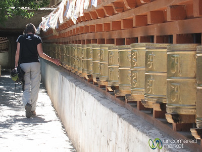 Audrey Turns Prayer Wheels at Alchi Monastery - Ladakh, India