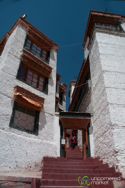 Likir Monastery, Climbing Steps to Main Courtyard - Ladakh, India