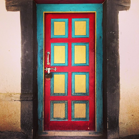 Favorite candy-colored Buddhist mystery doorway candidate #26. I so want to know what's behind this one. Taken in an upper chamber of Hemis Monastery #Ladakh