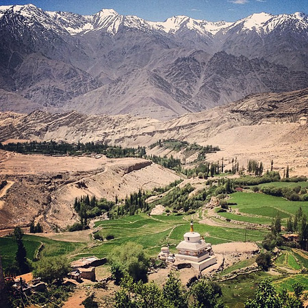 Sometimes nature impresses upon us that we are small. From the hilltop, Likir Monastery #Ladakh