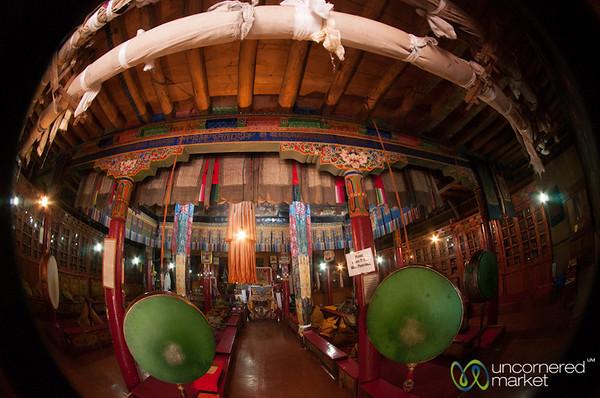 Buddhist Temple at Likir Monastery, Fisheye view - Ladakh, India