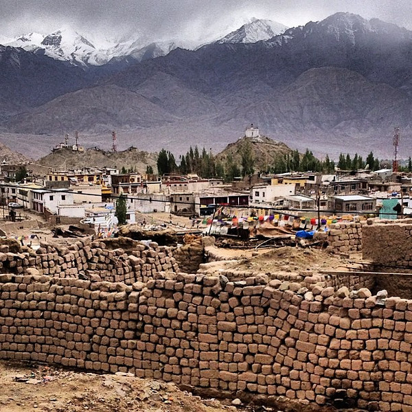 Walls and wee monasteries in the fog. On the edge of the town of Leh, Ladakh's largest outpost seemingly carved out of nowhere.