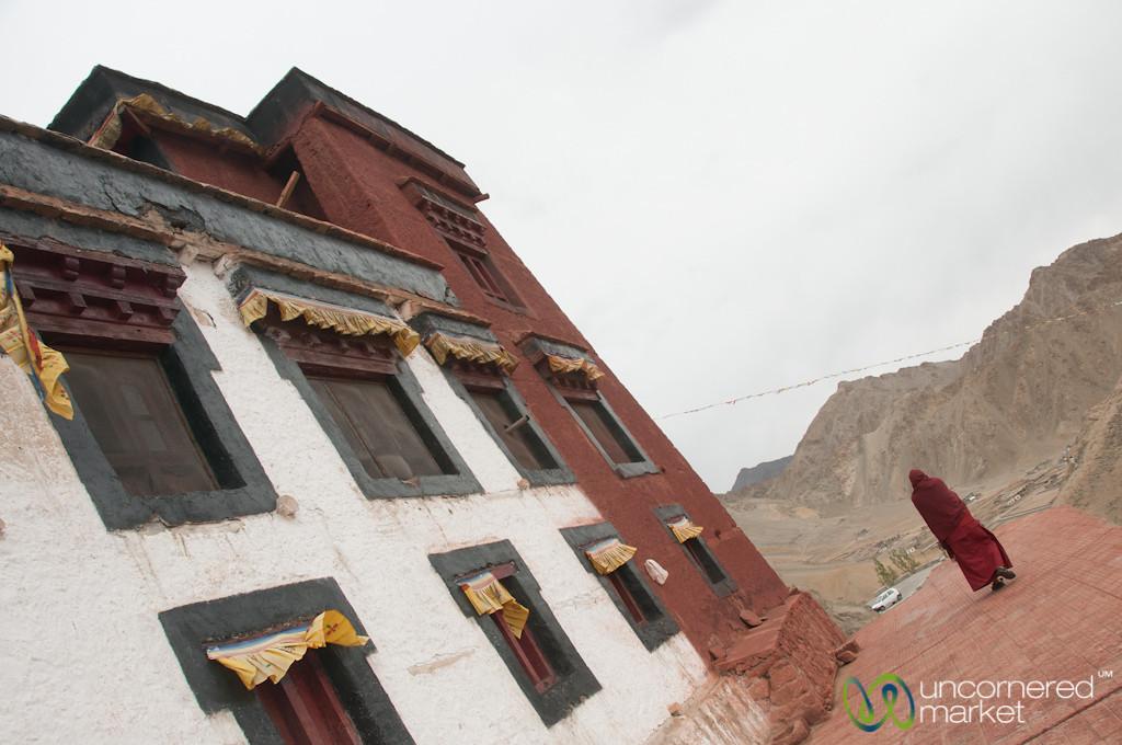 Buddhist Monk Outside Namgyal Tsemo Gompa - Leh, Ladakh, India