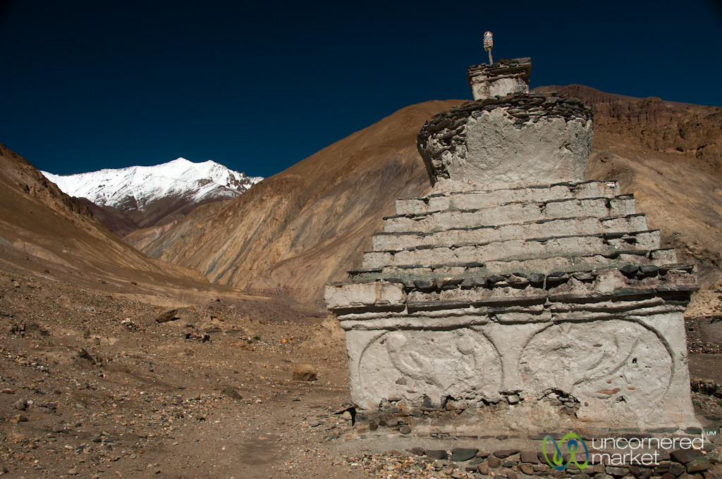 Chorten and Snow-Covered Mountain - Hankar, Markha Valley Trek