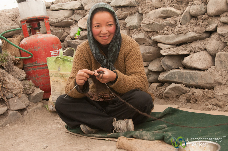 Ladakhi Woman Knitting - Markha Valley Trek, Ladakh
