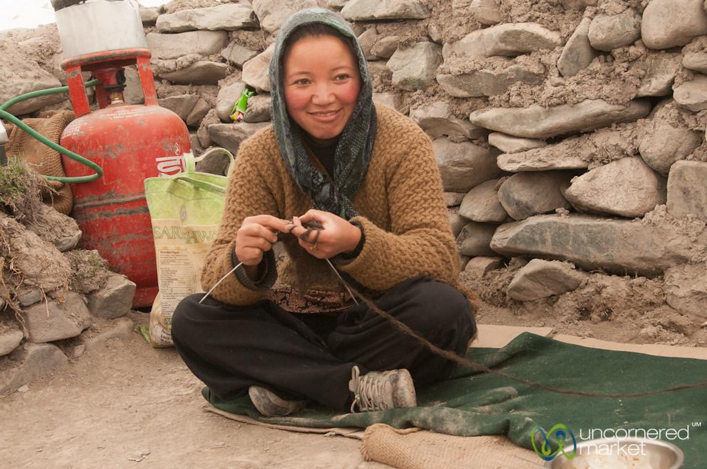 Ladakhi Woman Knitting - Markha Valley Trek, Ladakh