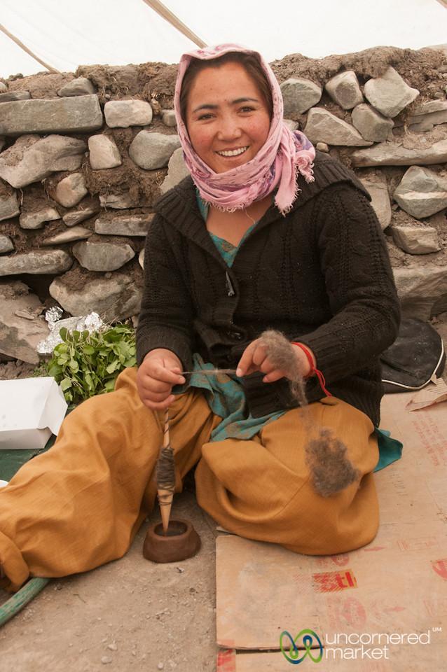 Ladakhi Woman, Spinning Wool - Markha Valley Trek, Ladakh