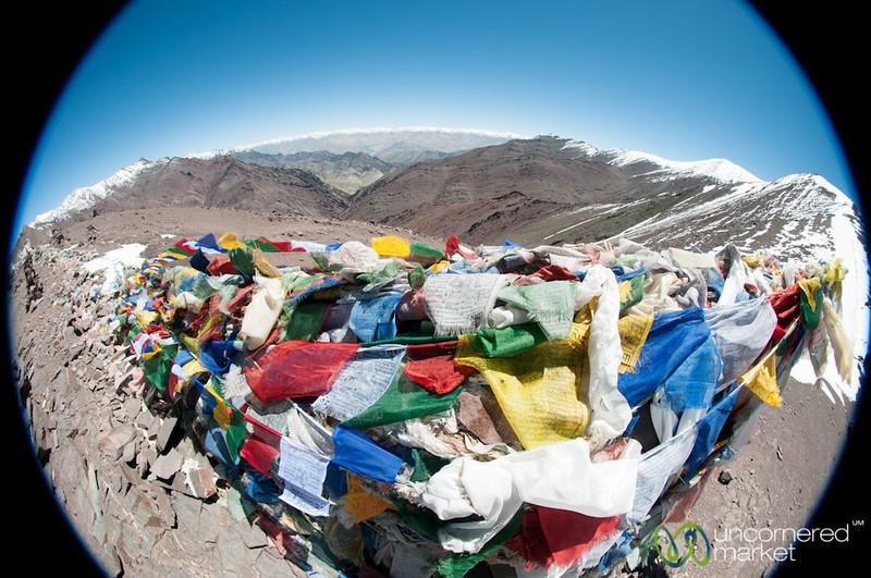Prayer Flags, Fisheye View at Top of Gongmaru La Pass - Ladakh, India