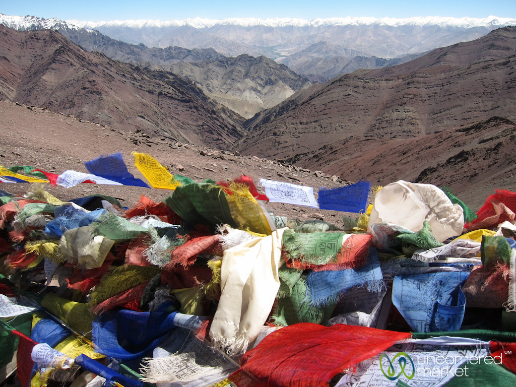 Prayer Flags and Mountain Views Greet us at the Top of Gongmaru La Pass - Ladakh, India