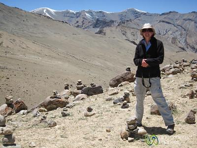 Audrey Amidst Cairn (stacked stones) - Markha Valley Trek, Ladakh