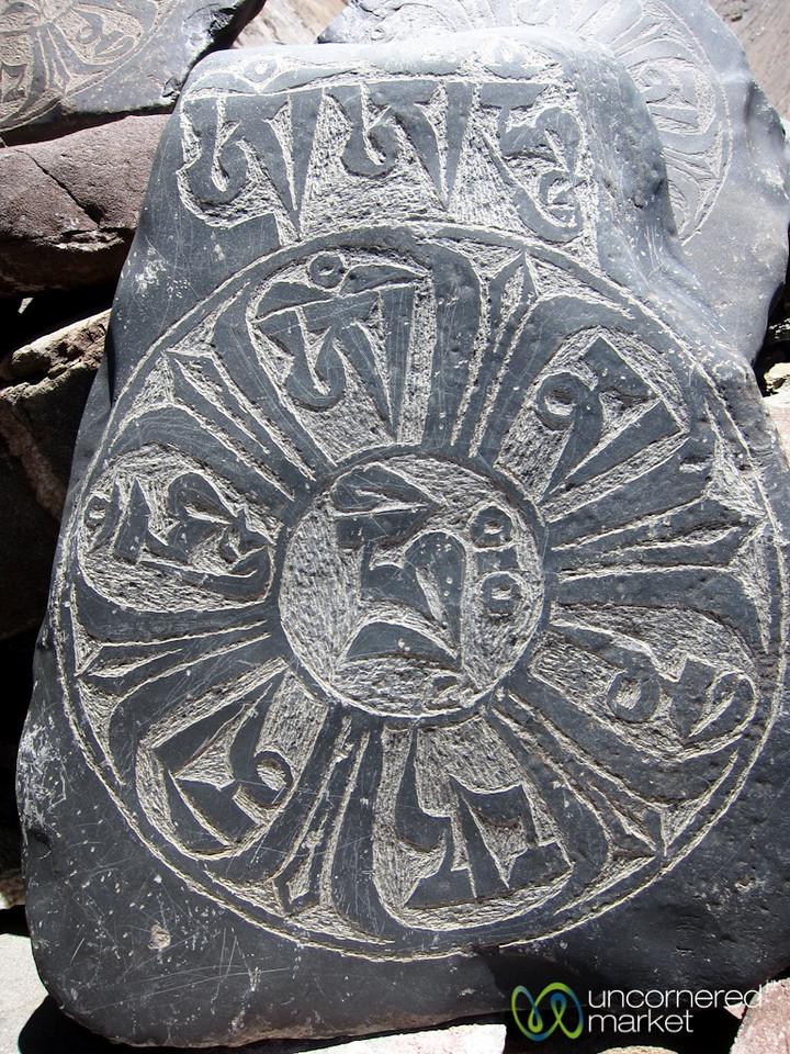 Engraved Buddhist Mani Rock - Marhka Valley Trek, Ladakh