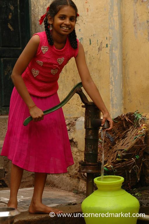 Madurai, India: Girl and Pitcher