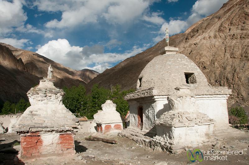 Chortens in Skyu - Day 2 of Markha Valley Trek, Ladakh