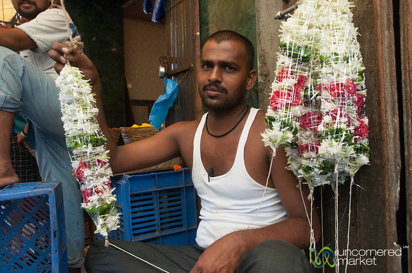 Dadar Flower Market, Vendor and Flower Creations - Mumbai, India