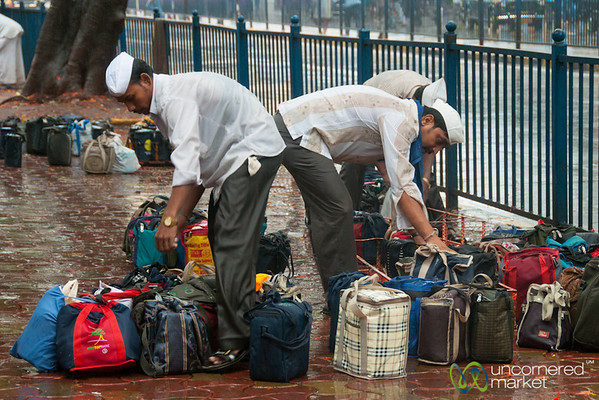 Dabbawalas Reorganizing Lunches for Delivery near Churchgage, Mumbai - India