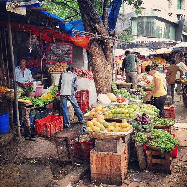 Just love the color, the everything of even the most ordinary Indian street stall markets -- Khar West, Mumbai