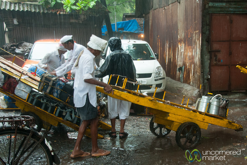 Dabbawalas Collect Lunches for Delivery - Dadar, Mumbai