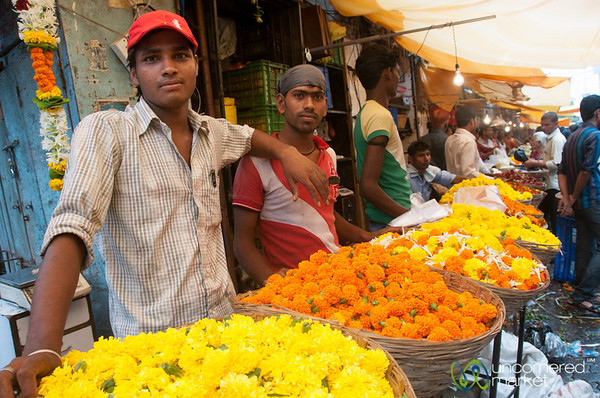 Dadar Flower Market, Vendors with Marigolds - Mumbai, India