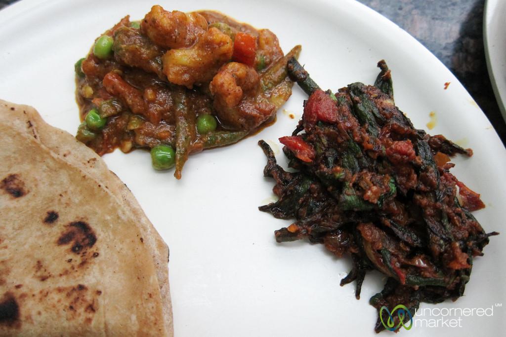 Sabzi (Mixed Vegetables) and Okra Curries - Khar Station, Mumbai