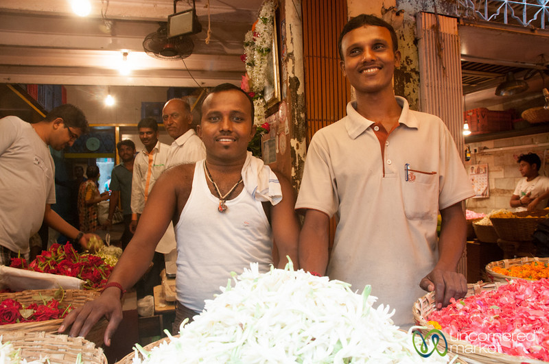 Dadar Flower Market, Smiling Vendors - Mumbai, India