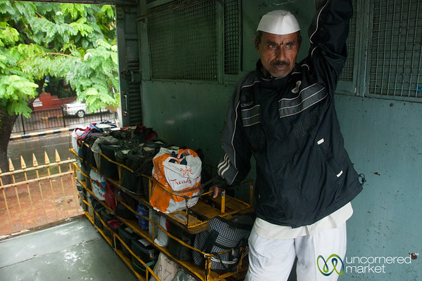 Dabbawalas Rides Mumbai Train with Lunches - India