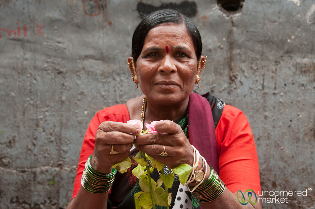 Dadar Flower Market, Smiling Vendor - Mumbai, India