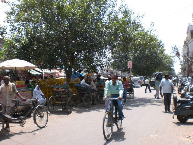 A man riding a bike new Chandni Chowk Market in New Delhi, India.