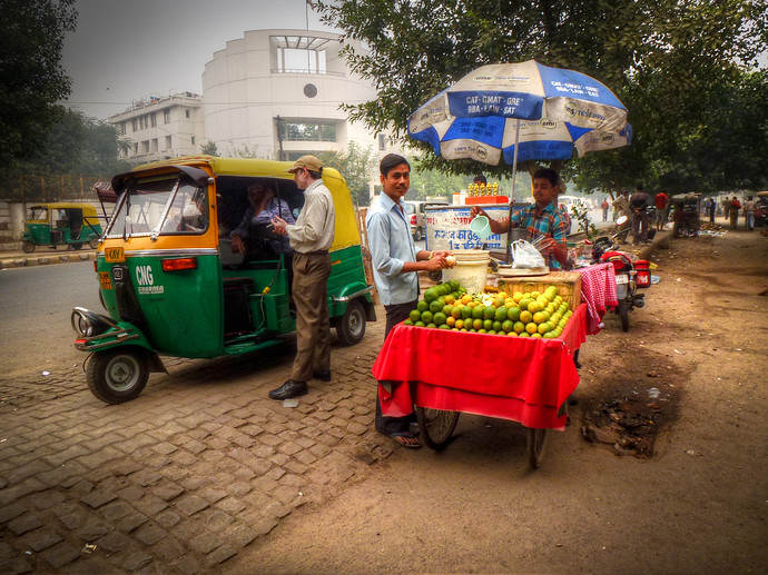 new delhi india fruit stand