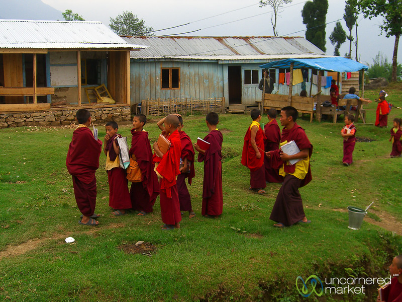 Students of the Buddhist Monastery - Lake Khecheopalri, Sikkim