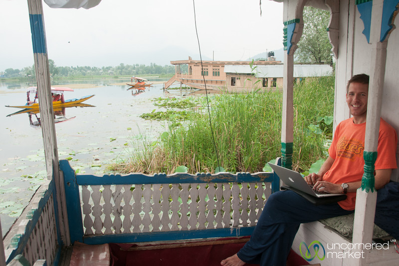 Dan Works at Front of Houseboat on Nagin Lake - Srinagar, Kashmir, India