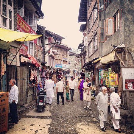 Morning walk, typical scene from the back streets of Old Town Srinagar #Kashmir