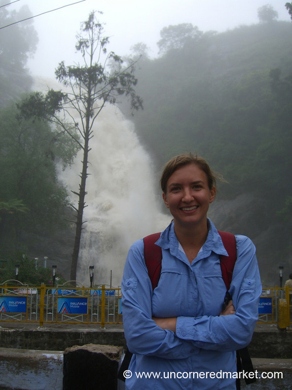 Audrey at the Waterfall Near Kodaikanal, India